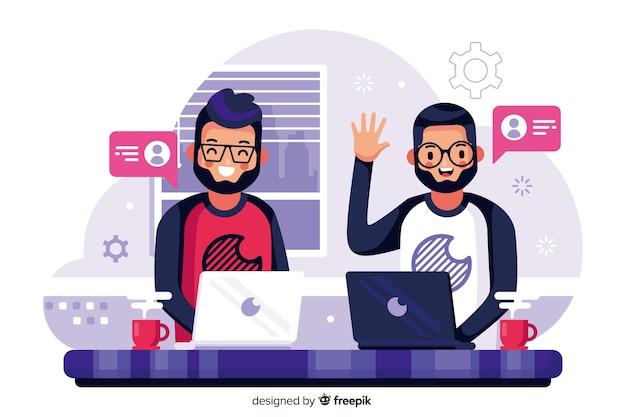 Concept de connexion des équipes pour la page de destination