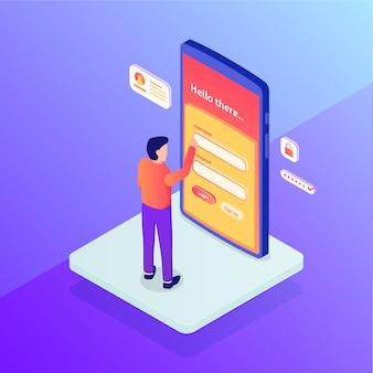 Concept de connexion avec nom d'utilisateur et mot de passe de sécurité accès permanent aux personnes avec isométrique