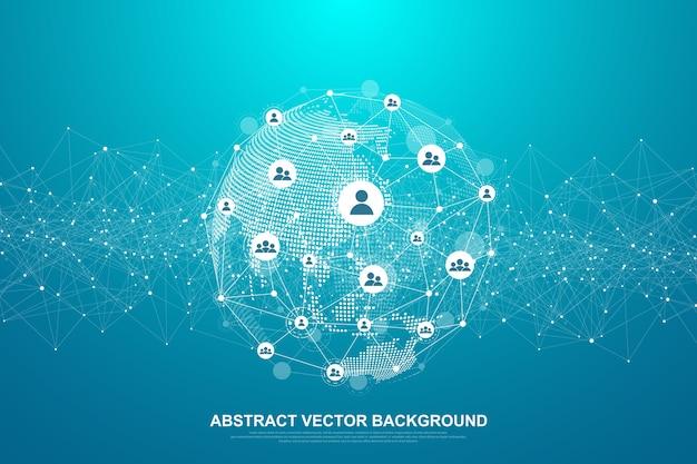 Concept de connexion réseau mondial. visualisation de big data.