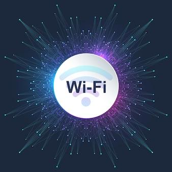 Concept de connexion sans fil wi-fi. signe d'icône wi-fi sans fil pour l'accès internet à distance. concept internet de technologie de signal de réseau sans fil wi-fi. internet haut débit. illustration vectorielle.