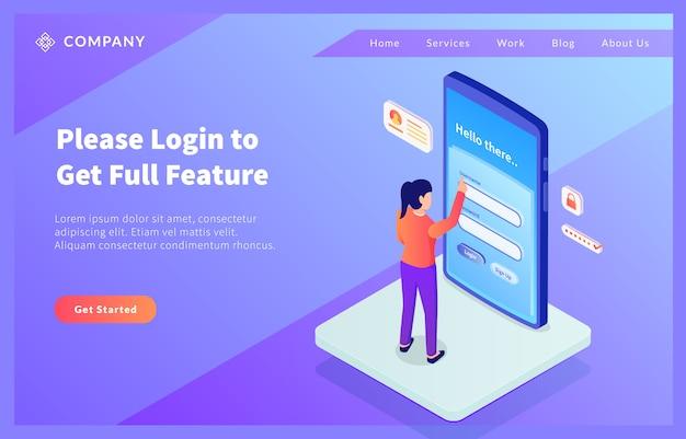 Concept de connexion sécurisée dans un smartphone avec un nom d'utilisateur et un mot de passe d'accès femme avec un style isométrique