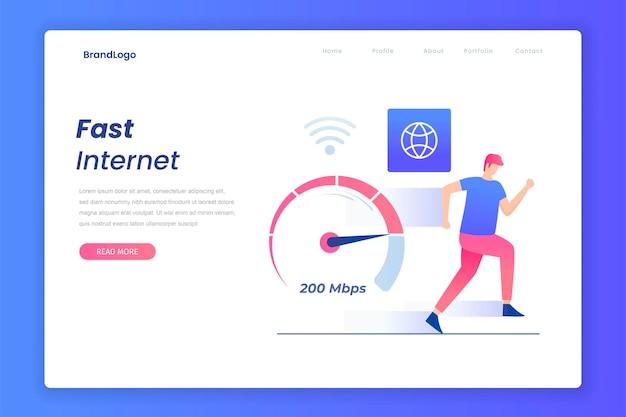 Concept de connexions internet plat rapide
