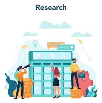 Concept de conseiller financier ou financier. caractère commercial faisant des opérations financières. calculatrice, investissement, recherche et contrat.