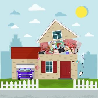 Le concept de consommation excessive. maison qui éclate de trucs.