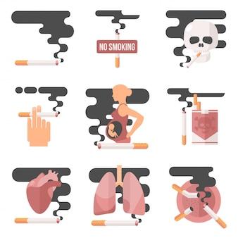 Concept De Consommation De Nicotine, Fumer Enceinte Vecteur Premium