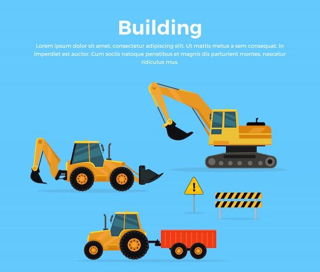 Concept de construction bannière design plat