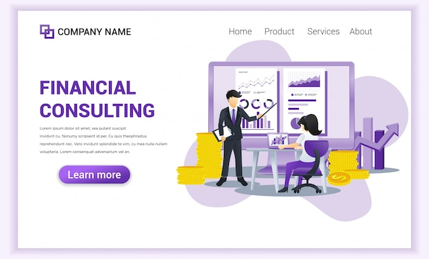 Concept de consultation financière avec des personnages.