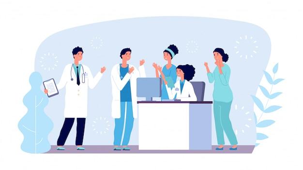Concept de consultation médicale. personnages de médecins. équipe hospitalière, diagnostic, réunion médicale