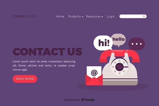 Concept de contact pour la page de destination