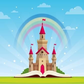 Concept de conte de fées avec château et arc-en-ciel