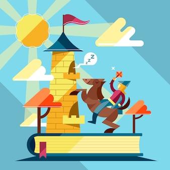 Concept de conte de fées avec chevalier et château