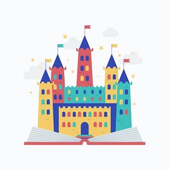 Concept de conte de fées avec concept de château