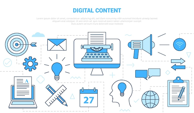 Concept de contenu numérique avec bannière de modèle de jeu d'icônes avec illustration de style de couleur bleu moderne