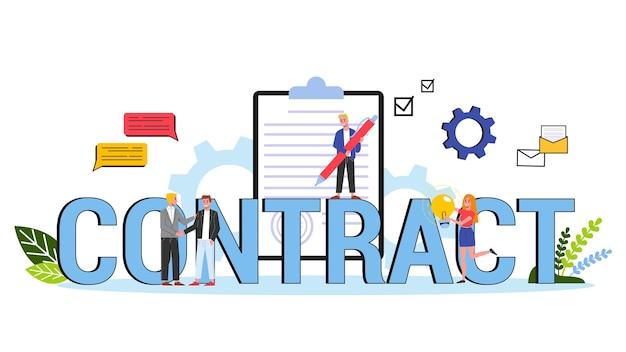 Concept de contrat. accord officiel et poignée de main