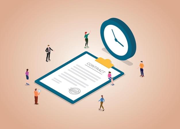 Concept de contrat temporaire avec document de personnes et de contrats