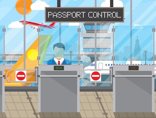Concept de contrôle des frontières, agent d'immigration
