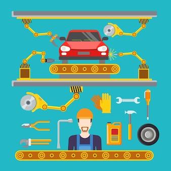 Concept de convoyeur de ligne de production de service de réparation de voiture plate.