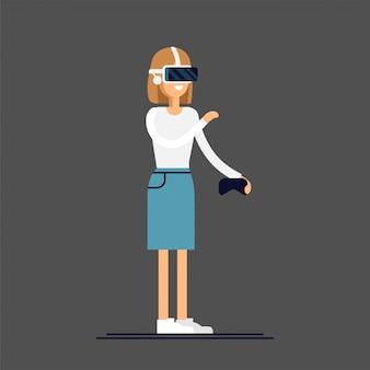 Concept cool sur le casque de réalité virtuelle en cours d'utilisation. une fille expérimente une immersion totale dans la réalité virtuelle en essayant de toucher un objet non physique. caractère de femme appréciant le dispositif vr