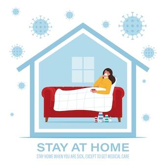 Concept de coronavirus. restez à la maison pendant l'épidémie de coronavirus. restez à la maison lorsque vous êtes malade. illustration dans un style plat