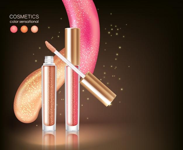 Concept cosmétique de rouge à lèvres brillant