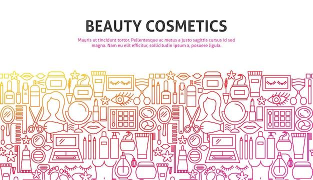 Concept de cosmétiques de beauté. illustration vectorielle de ligne web design. modèle de bannière.
