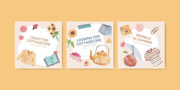 Concept De Cottagecore D'été Modèle De Poste Carré, Style Aquarelle Vecteur gratuit