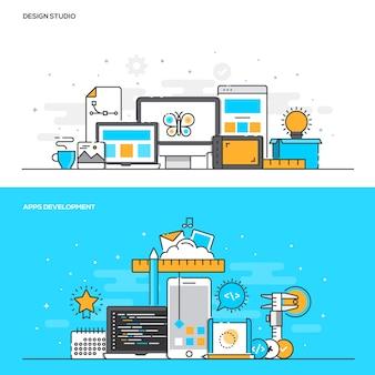 Concept de couleur de ligne plate - design studio et développement d'applications - couleur