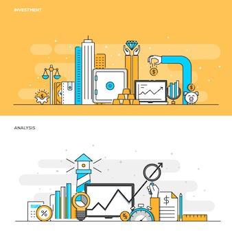 Concept de couleur de ligne plate - investissement et analyse - couleur