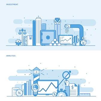 Concept de couleur de ligne plate - investissement et analyse