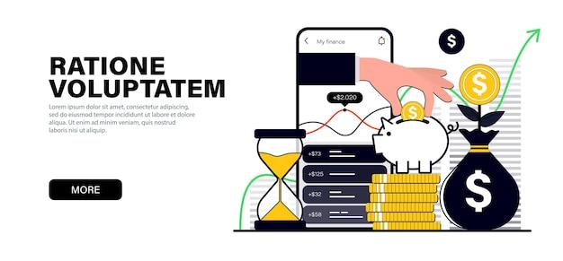 Concept en couleur noire plate moderne sur le thème économiser l'investissement multiplication du capital