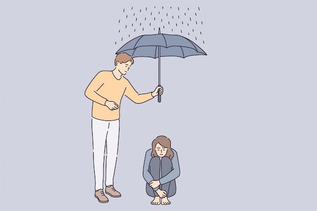 Concept de coup de main et de soutien