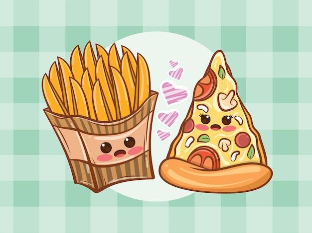 Concept de couple mignon de pommes de terre frites et de tranches de pizza. dessin animé