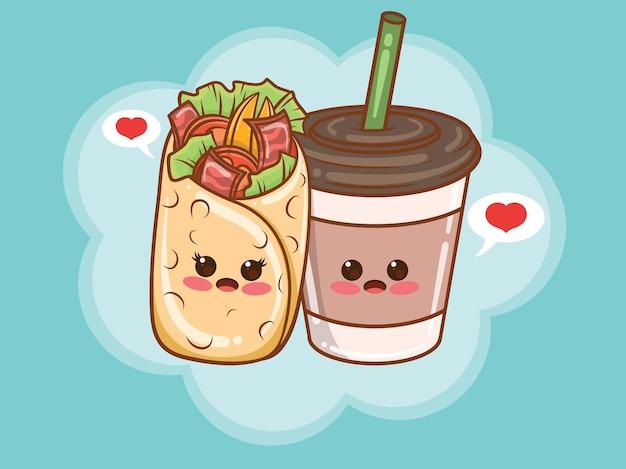 Concept de couple tasse à café et kebab mignon. dessin animé