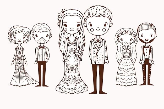 Concept de couples de mariage dessinés à la main