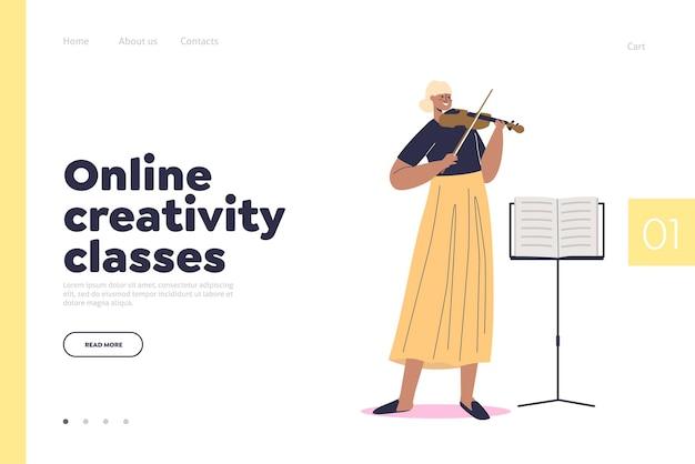 Concept de cours de créativité en ligne de page de destination avec une jeune femme apprenant à jouer du violon