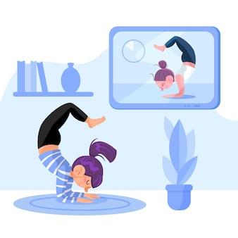 Concept de cours de yoga en ligne design dessiné à la main