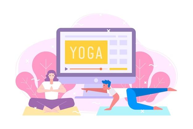Concept de cours de yoga en ligne design plat