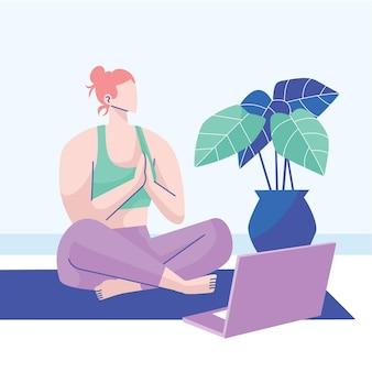 Concept de cours de yoga en ligne dessinés à la main