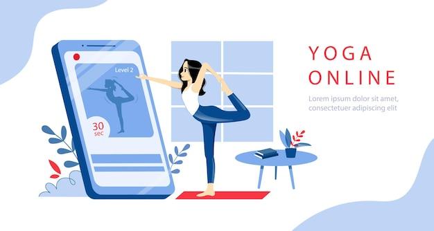 Concept de cours de yoga en ligne.
