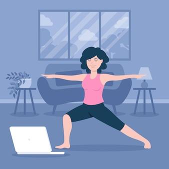 Concept de cours de yoga en ligne
