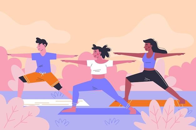 Concept de cours de yoga en plein air