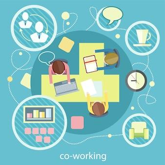 Concept de coworking. réunion d'affaires