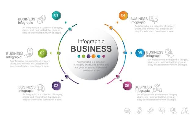 Concept créatif avec 6 étapes illustration stock abstract business communication computer graphic