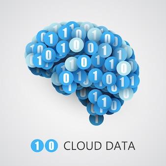 Concept créatif abstrait du cerveau numérique ou informatique.