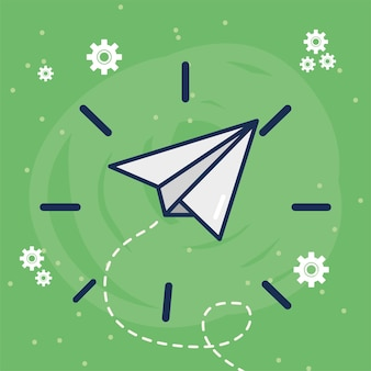 Le concept créatif de l'avion en papier