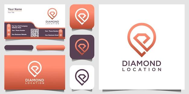 Concept créatif de diamant et de broche. modèle de conceptions de logo brillant avec style d'art en ligne