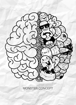 Concept créatif du cerveau humain, monster doodle concept