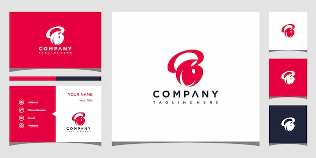 Concept créatif de logo de feuille de lettre b et prime de carte de visite vecteur premium