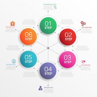 Concept créatif pour diagramme infographique en 6 étapes
