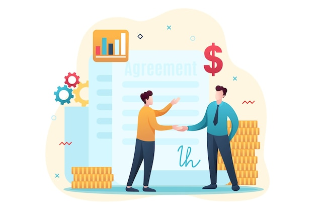 Concept de création d'un accord financier au design plat